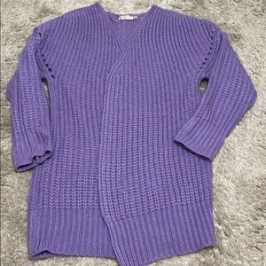 Purple Open cable knit cardigan